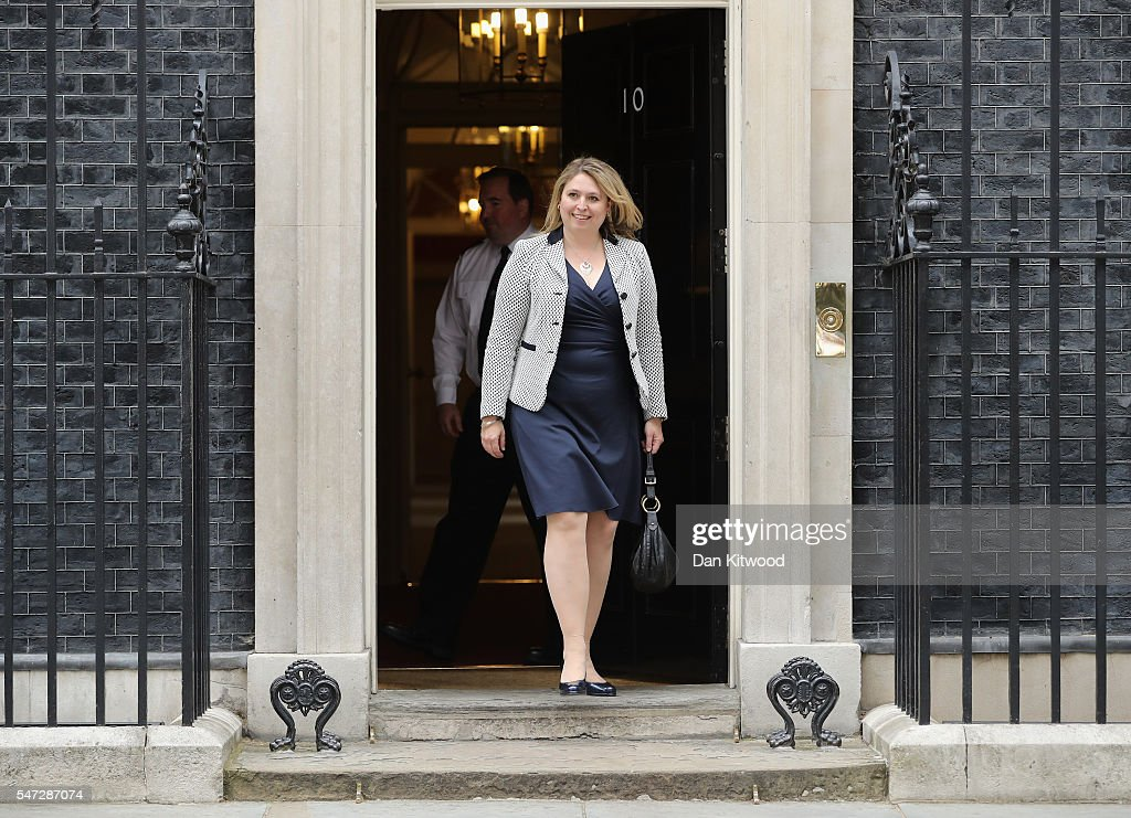 Karen Bradley leaves 10 Downing Street where she was appointed as Culture Secretary, as Prime Minister Theresa May continues to appoint her cabinet on July 14, 2016 in London, England. The UK's New Prime Minister began appointing the key Ministerial positions in her cabinet shortly after taking up residence at Number 10 Downing Street.