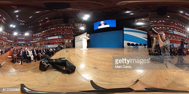 Karen Bradley Secretary of State for Culture Media and Sport speaks on the second day of the Conservative Party Conference 2016 at the ICC Birmingham...