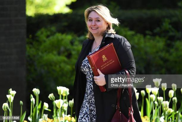 Karen Bradley Secretary of State for Northern Ireland attends the first cabinet meeting following the ReShuffle at Downing Street on May 1 2018 in...