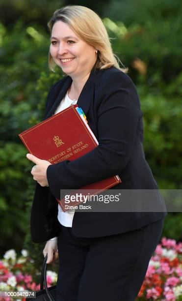 Karen Bradley the Secretary of State for Northern Ireland arrives at Downing Street on July 17 2018 in London England MPs vote on the trade bill in...