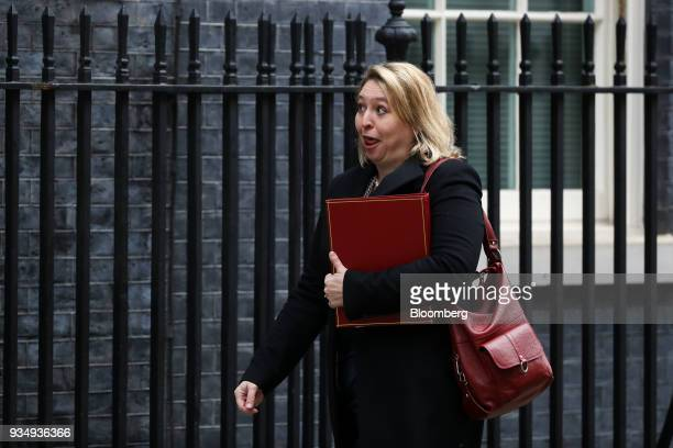 Karen Bradley UK Northern Ireland secretary arrives for a weekly meeting of cabinet ministers at number 10 Downing Street in London UK on Tuesday...