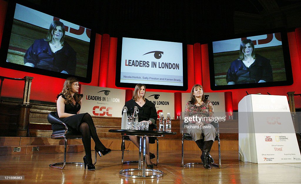 Karen Brady, Nicola Horlick and Sally Preston pictured at the Leaders in London International Leadership Summit on November 29, 2007 in London. The event, now in its forth year, hosted a stellar line up of international speakers discussing aspects of business leadership to an audience of the UK an Europe's leading businessmen. Speakers include Kofi Annan, The Hon Al Gore, David Cameron, Sir Martin Sorrell and Karren Brady amongst others.