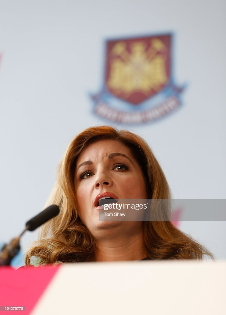 Karen Brady talks to the press during the press conference to announce the future of the Olympic Stadium on March 22, 2013 in London, England. West Ham have been announced as the main tenants of the Olympic Stadium and will pay 15 million GBP upfront towards conversion costs and an annual rent of 2 million GBP.