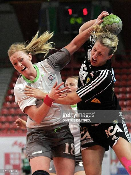 Karen Brodsgaard of Aalborg Denmark fights for the ball with Johanna Ahlm of Swedish Savehof during their handball champions league match in Patras...