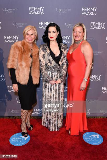 Karen Bromley Dita Von Teese and Kristin Altimari attend 2018 Femmy Awards hosted by Dita Von Teese on February 6 2018 in New York City