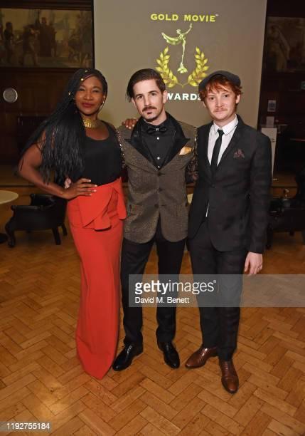 Karen Bryson, Gold Movie Awards founder James Matthewson and Luke Spencer Roberts attend the Gold Movie Awards 2020 at the Regent Street Cinema on...