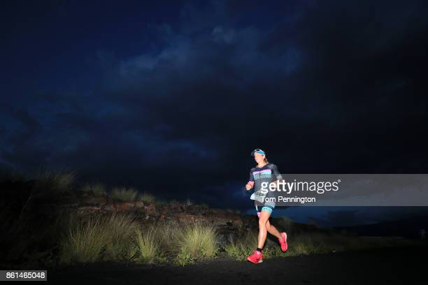 Karen Burbella of the United States competes during the IRONMAN World Championship on October 14 2017 in Kailua Kona Hawaii