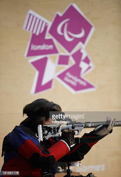 Karen Butler of Great britain competes in the Women's R8-50m Rifle 3 Positions-SH1 qualification round on day 8 of the London 2012 Paralympic Games...