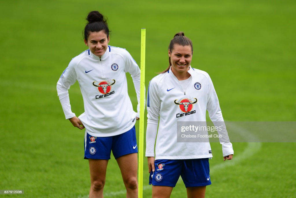 Karen Carney and Ramona Bachmann of Chelsea during a training session on August 23, 2017 in Schladming, Austria.