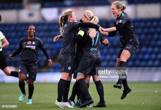 Karen Carney of Chelsea celebrates with her team mates after she scores to make it 11 during the FA WSL match between Reading Women and Chelsea...