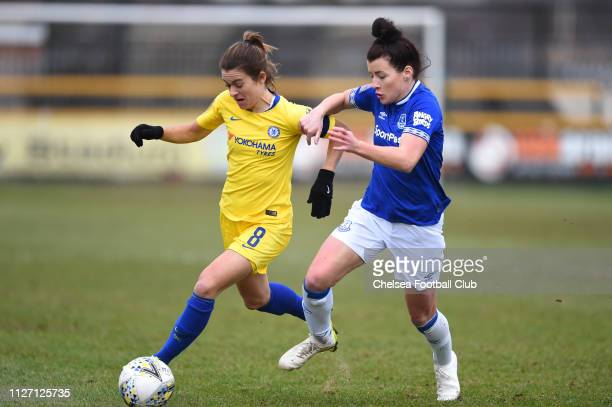 Karen Carney of Chelsea is challenged by Angharad James of Everton during the FA Cup Fourth round match between Everton Ladies and Chelsea Women on...