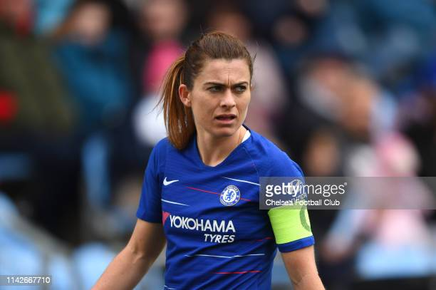 Karen Carney of Chelsea looks on during the Women's FA Cup Semi Final match between Manchester City Women and Chelsea Women at The Academy Stadium on...