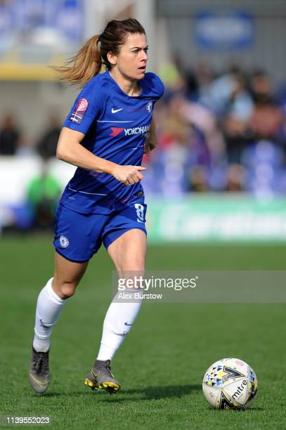 Karen Carney of Chelsea runs with the ball during the FA Women's Super League match between Chelsea Women and West Ham United Women at Kingsmeadow on...