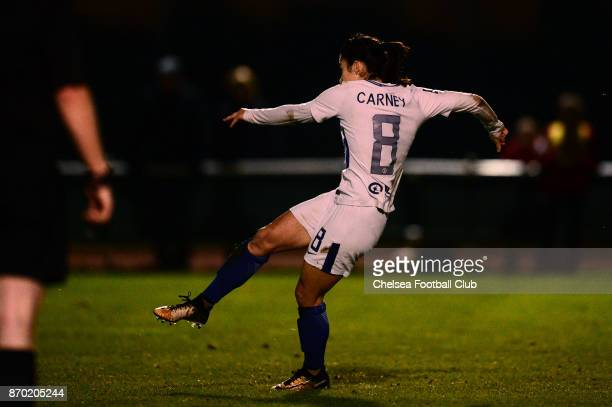 Karen Carney of Chelsea scores from the penalty spot to make it 21 during a Continental Tyres Cup match between Bristol City Women and Chelsea Ladies...