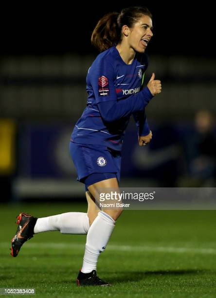 Karen Carney of Chelsea Women celebrates after scoring her team's first goal during the UEFA Women's Champions League Round of 16 1st Leg match...