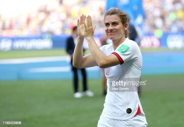 Karen Carney of England applauds fans after the 2019 FIFA Women's World Cup France 3rd Place Match match between England and Sweden at Stade de Nice...