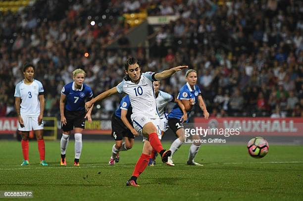 Karen Carney of England fires home a penalty during the UEFA Women's Euro 2017 Qualifier between England and Estonia at Meadow Lane on September 15...