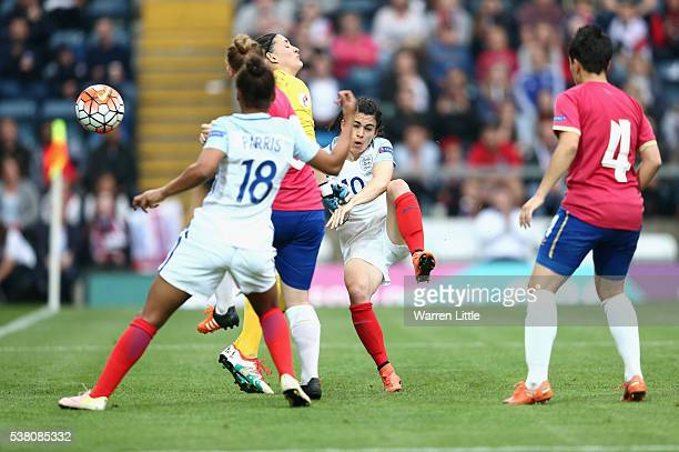 Karen Carney of England scores her hatrick and England's seventh goal during the UEFA Women's European Championship Qualifying match between England...