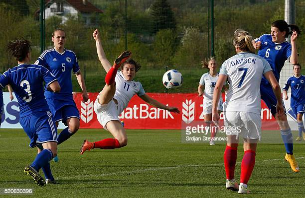 Karen Carney of England scores the opening goal during the UEFA Women's European Championship Qualifier match between Bosnia and Herzegovina and...