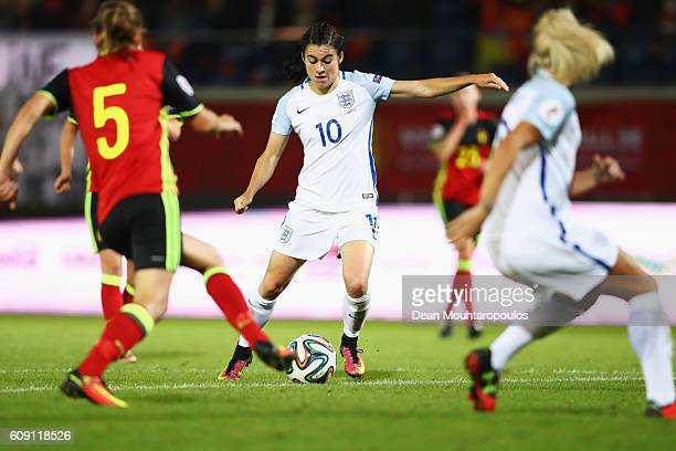Karen Carney of England shoots and scores the second goal during the UEFA Women's Euro 2017 Qualifier between Belgium and England held at Stadium Den...