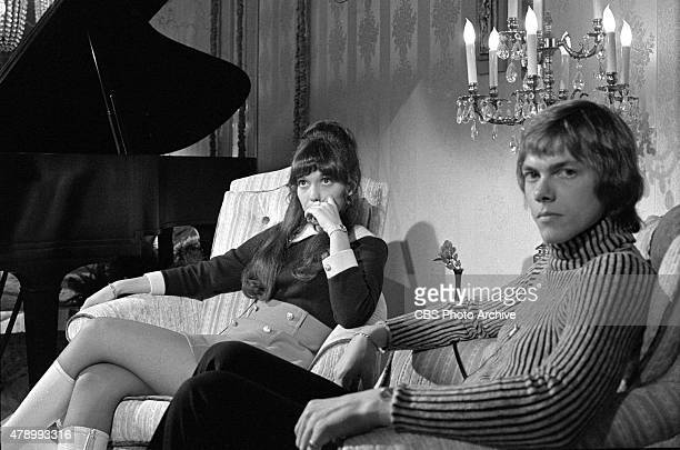 Karen Carpenter and Richard Carpenter during an interview at KNXT News Los Angeles Image dated January 17 1972