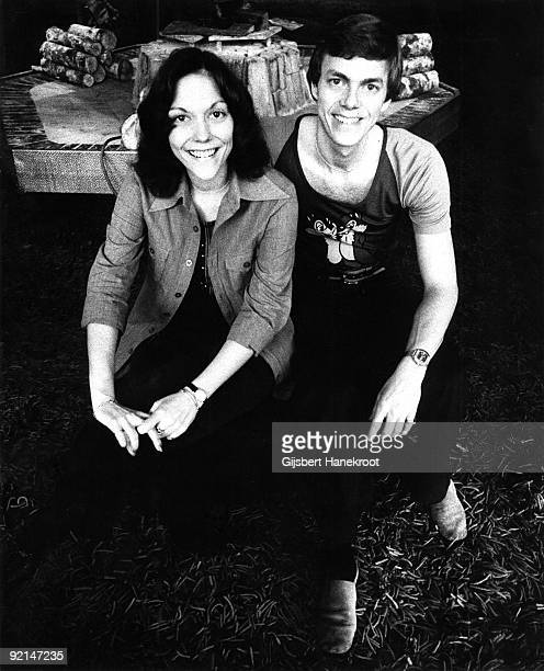 Karen Carpenter and Richard Carpenter from the Carpenters posed in the lounge of The Hilton Hotel Amsterdam Netherlands circa 1972