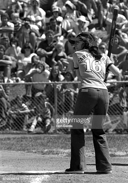 Karen Carpenter attends Golden Nugget Fifth Annual Celebrity Softball Game on May 29 1977 at the University of Nevada in Las Vegas Nevada