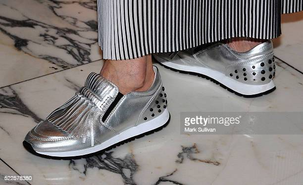 Karen Chai shoe detail arrives ahead of the TODS for Ferrari SS16 launch and VIP shopping night on April 20 2016 in Sydney Australia