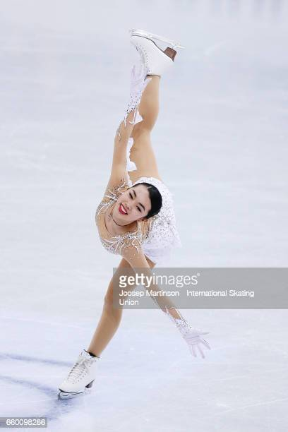 Karen Chen of the United States competes in the Ladies Short Program during day one of the World Figure Skating Championships at Hartwall Arena on...