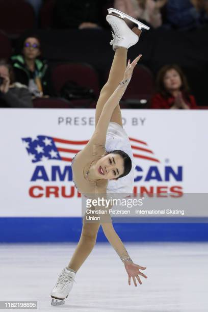 Karen Chen of the United States performs during ladies free skating in the ISU Grand Prix of Figure Skating Skate America at the Orleans Arena on...