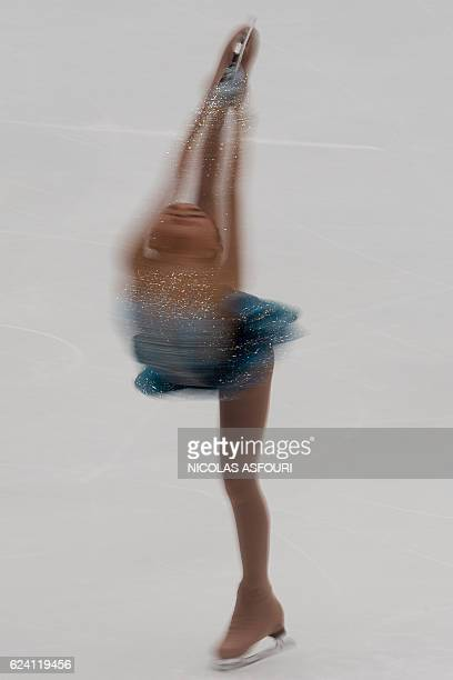 TOPSHOT Karen Chen of the US performs during the Ladies short program the Ice Dance short dance at the Cup of China ISU Grand Prix of Figure Skating...