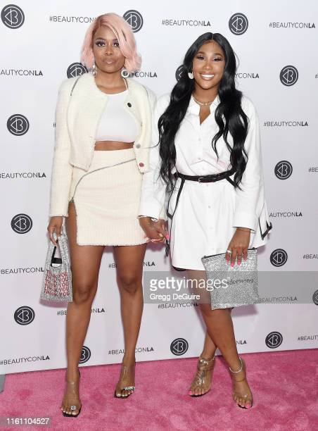Karen Civil and Ming Lee attend Beautycon Los Angeles 2019 Day 2 Pink Carpet at Los Angeles Convention Center on August 11, 2019 in Los Angeles,...