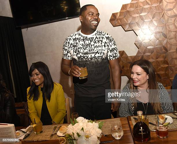 Karen Civil Oronde Garrett and Angie Martinez attend D'USSE Dinner Series With Angie Martinez My Voice at BOA Steakhouse on May 19 2016 in West...