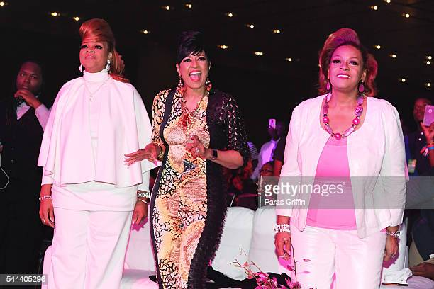 Karen Clark Sheard Dorinda ClarkCole and Jacky Cullum Chisholm from The Clark Sisters attend the 2016 ESSENCE Festival Presented By CocaCola at...
