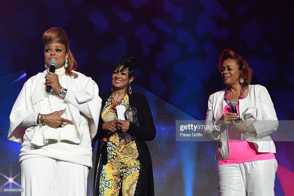 Karen Clark Sheard, Dorinda Clark-Cole, and Jacky Cullum Chisholm from The Clark Sisters speak onstage during the Tribute Finale at the 2016 ESSENCE Festival Presented By Coca-Cola at Ernest N. Morial Convention Center on July 3, 2016 in New Orleans, Louisiana.