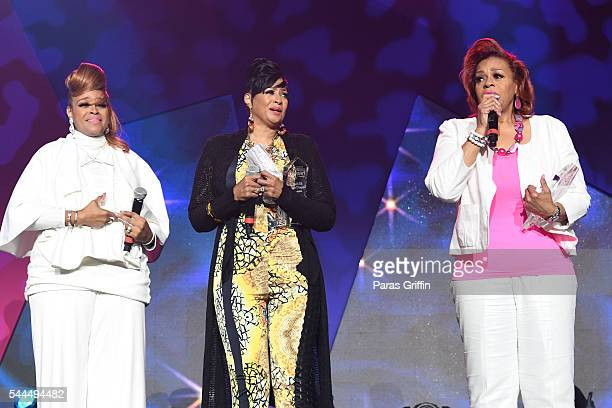 Karen Clark Sheard Dorinda ClarkCole and Jacky Cullum Chisholm from The Clark Sisters speak onstage during the Tribute Finale at the 2016 ESSENCE...