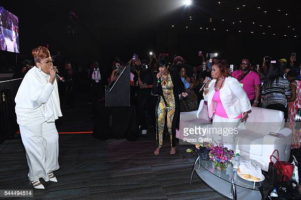 Karen Clark Sheard Dorinda ClarkCole and Jacky Cullum Chisholm from The Clark Sisters perform during the Tribute Finale at the 2016 ESSENCE Festival...