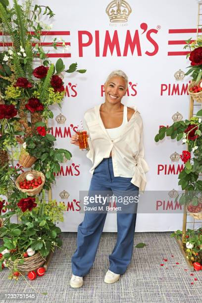 Karen Clifton enjoys PIMM'S No 1 hospitality at The Championships, Wimbledon on July 1, 2021 in London, England.