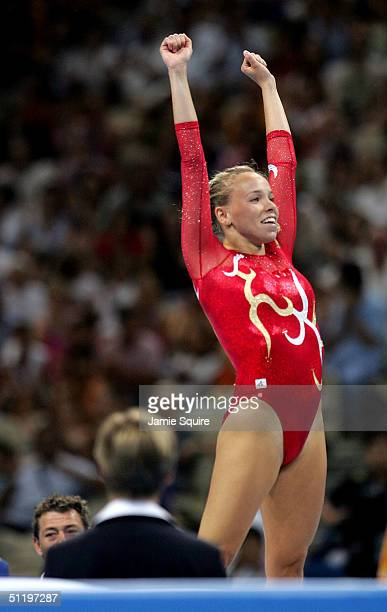 Karen Cockburn of Canada celebrates after her routine in the women's trampoline final on August 20 2004 during the Athens 2004 Summer Olympic Games...