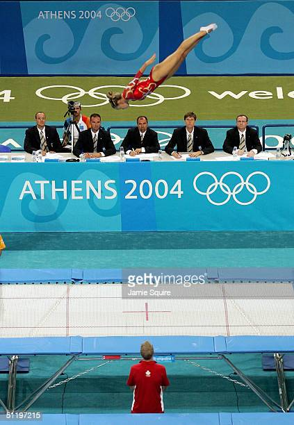 Karen Cockburn of Canada competes in the women's trampoline qualifier on August 20 2004 during the Athens 2004 Summer Olympic Games at the Olympic...