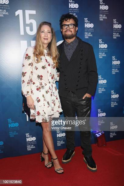 Karen Coronado and Aleks Syntek attend the HBO Latin America 15 Years celebration red carpet at Soumaya Museum on July 18 2018 in Mexico City Mexico