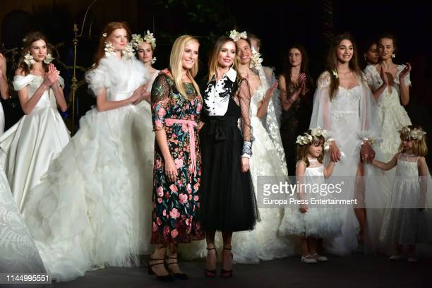 Karen Creig and Georgina Chapman attend the Marchesa fashion show at Valmont Barcelona Bridal Fashion Week 2019 on April 24, 2019 in Barcelona, Spain.