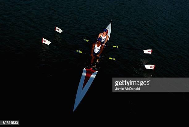 Karen Cromie and James Roberts of Great Britain row to the start of the Mixed Double Sculls -TA- Rowing event at Shunyi Olympic Rowing-Canoeing Park...