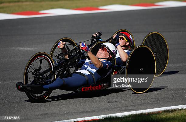 Karen Darke and Rachel Morris of Great Britain ride during the Women's Individual H 1-3 Road Race on day 9 of the London 2012 Paralympic Games at...