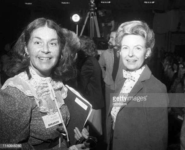 Karen DeCrow former president of the National Organization of Women arrives at the Hartford Civic Center Exhibition Hall with Phyllis Schlafly the...