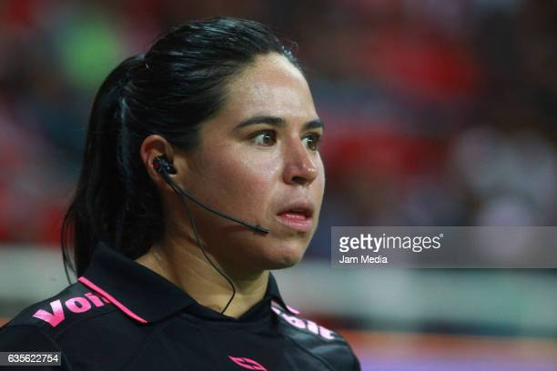 Karen Diaz Medina assistant referee looks on during the 4th round match between Chivas and Venados as part of the Torneo Clausura 2017 Copa MX at...