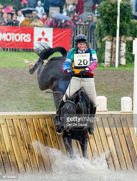 Karen Dixon rides during the 2004 Mitsubishi Badminton Horse Trials at the Duke of Beaufort's Gloucestershire Park on May 1 2004 in Gloucestershire...