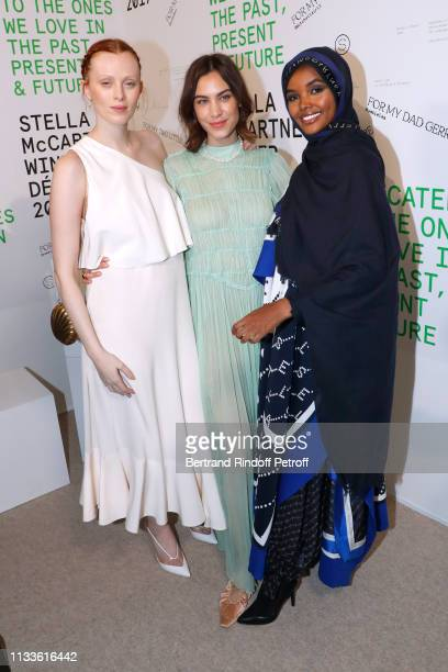 Karen Elson Alexa Chung and Halima Aden pose after the Stella McCartney show as part of the Paris Fashion Week Womenswear Fall/Winter 2019/2020 on...