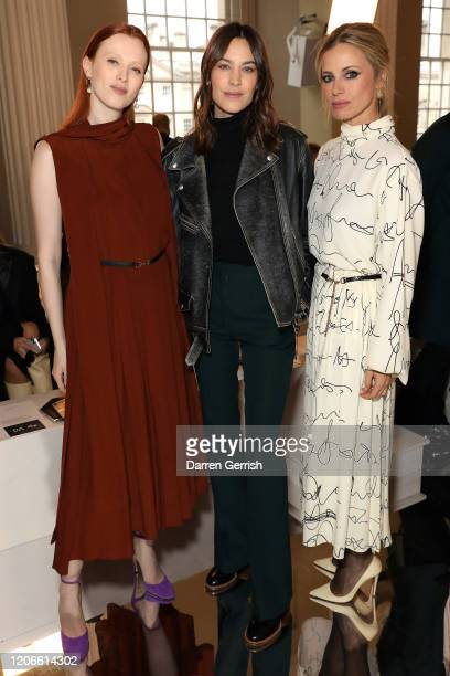 Karen Elson Alexa Chung and Laura Bailey attend the Victoria Beckham show during London Fashion Week February 2020 on February 16 2020 in London...