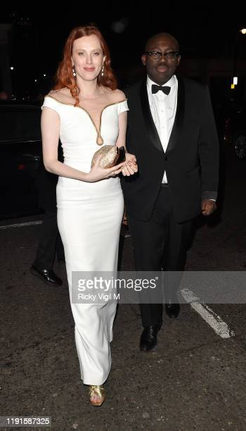 Karen Elson and Edward Enninful seen attending Giorgio Armani Fashion Awards afterparty at Harry's Bar on December 02 2019 in London England
